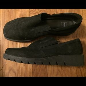 Ecco brand black loafers with chunky soles